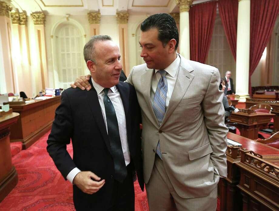 Former state Senate President Pro Tem Darrell Steinberg, D-Sacramento (left), with Sen. Alex Padilla, led the makeover effort. Photo: Rich Pedroncelli / Associated Press / AP