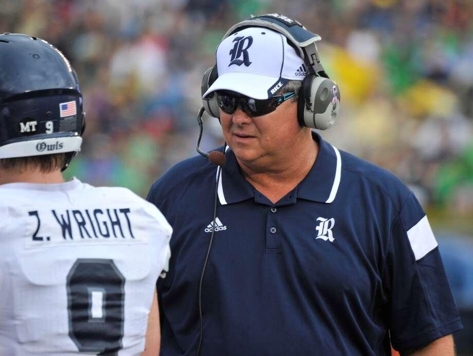 Rice coach David Bailiff talks to players during an NCAA college football game against Notre Dame  in South Bend, Ind., Saturday, Aug. 30, 2014. (AP Photo/Joe Raymond) Photo: Joe Raymond, Associated Press