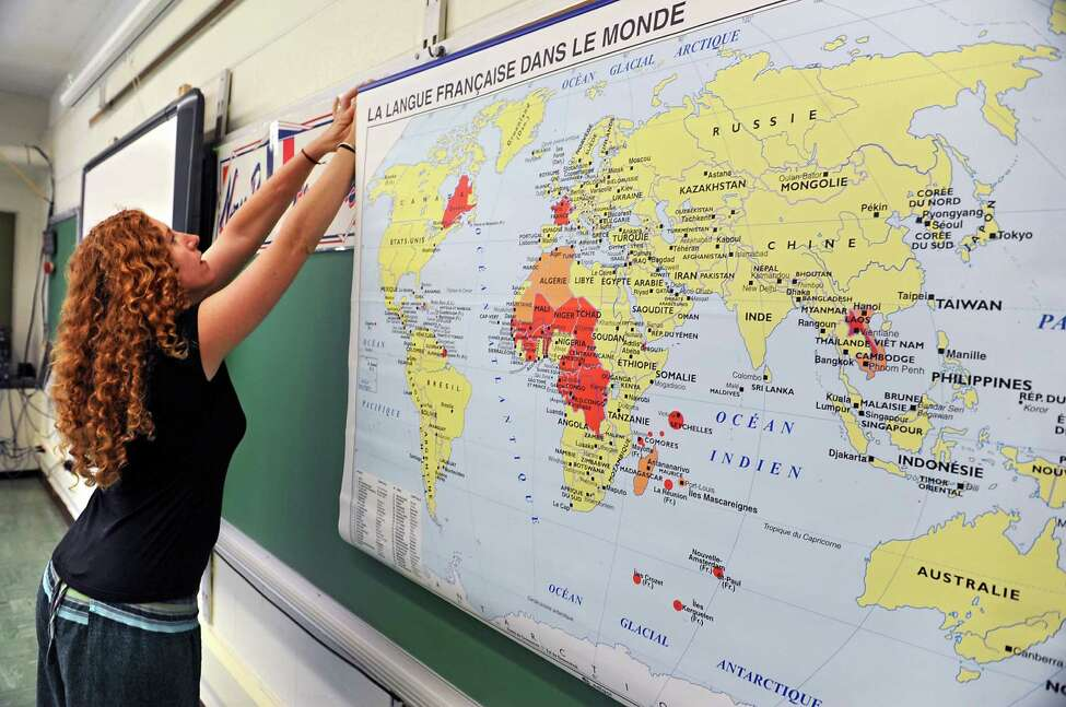 Shenendehowa french teacher Jessica Palden sets up her classroom for the coming school year Monday, Aug. 18, 2014 in Clifton Park, N.Y. (Lori Van Buren / Times Union)