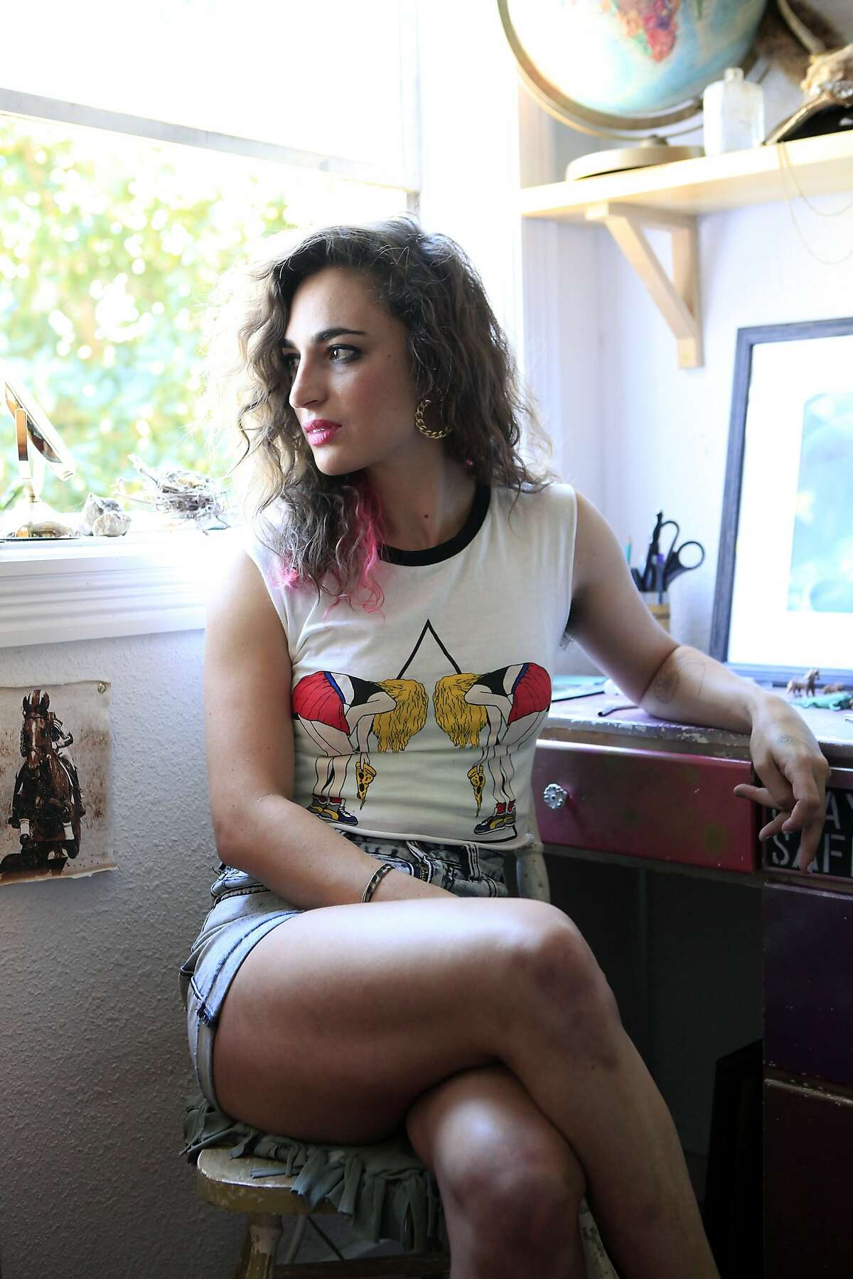 Hanna Cohen, friend of The Stick & Poke creator Nicole West, poses for a portrait at her home in San Francisco, CA, Saturday, August 30, 2014.