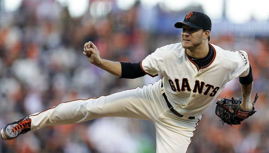 San Francisco Giants' Jake Peavy works against the Milwaukee Brewers in the second inning of a baseball game Saturday, Aug. 30, 2014, in San Francisco. (AP Photo/Ben Margot) Photo: Ben Margot, Associated Press