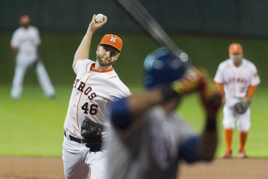 August 30: Astros 2, Rangers 0Scott Feldman tossed a three-hit shutout to lift the Astros past the Rangers.  Record: 58-79. Photo: Smiley N. Pool, Houston Chronicle