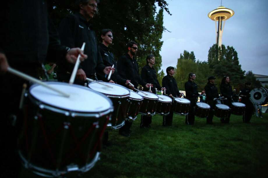 The Last Regiment of Syncopated Drummers perform on the International Fountain lawn. Photo: JOSHUA TRUJILLO, SEATTLEPI.COM / SEATTLEPI.COM
