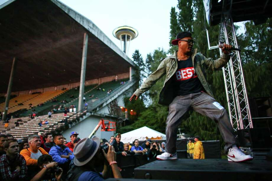 JFK and Onry Ozzborn of the hip hop group Grayskul perform on the Endzone Stage. Photo: JOSHUA TRUJILLO, SEATTLEPI.COM / SEATTLEPI.COM