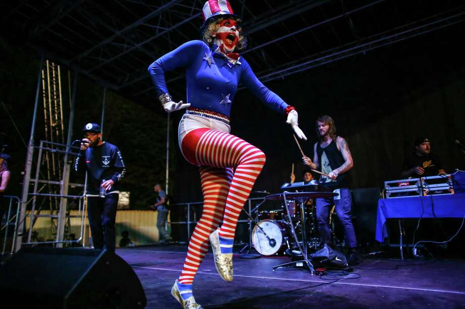 A performer marches across the stage as RA Scion performs on the End Zone Stage. Photo: JOSHUA TRUJILLO, SEATTLEPI.COM / SEATTLEPI.COM