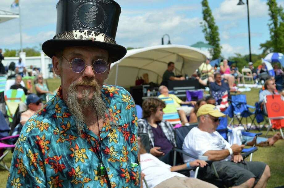 Bruce Rieder of Vernon, like many others in the crowd at the Blues, Views & BBQ Festival on Saturday, traveled a distance to enjoy the music and food. Photo: Jarret Liotta / Westport News