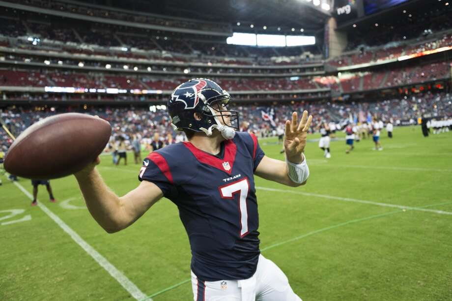 Houston Texans quarterback Case Keenum (7) warms up before an NFL preseason football game at NRG Stadium against the San Francisco 49ers on Thursday, Aug. 28, 2014, in Houston. ( Smiley N. Pool / Houston Chronicle ) Photo: Houston Chronicle