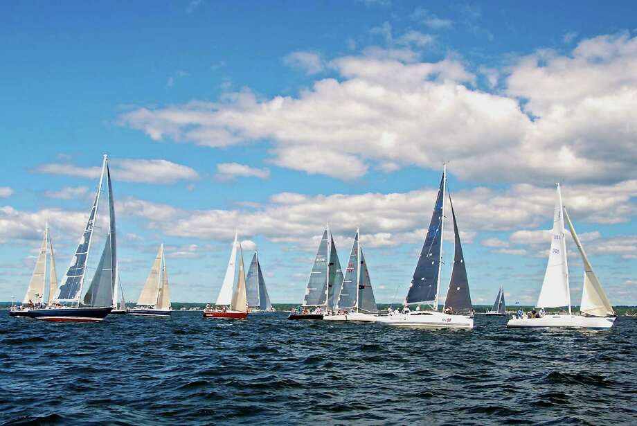 The 80th running of the Labor Day weekend's Vineyard Race got underway in Stamford Harbor in Stamford, Conn. on Friday, Aug. 29, 2014. The race, sponsored and hosted by the Stamford Yacht Club is sailed on three courses, the longest of which takes sailors to the entrance of Buzzards Bay and back a distance of 238 miles. Photo: Contributed Photo, Rick Bannerot/Contributed Photo / Stamford Advocate  contributedRick Bannerot