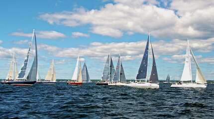 The 80th running of the Labor Day weekend's Vineyard Race got underway in Stamford Harbor in Stamford, Conn. on Friday, Aug. 29, 2014. The race, sponsored and hosted by the Stamford Yacht Club is sailed on three courses, the longest of which takes sailors to the entrance of Buzzards Bay and back a distance of 238 miles.