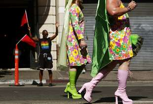 during Oakland Pride Parade on Broadway in Oakland, Calif. on Sunday, August 31, 2014.