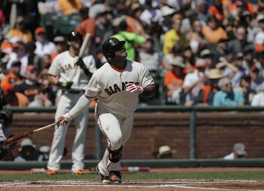 Pablo Sandoval's second-inning triple was one of 10 extra-base hits for the Giants. Photo: Carlos Avila Gonzalez, The Chronicle