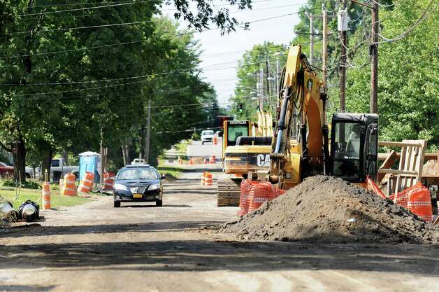 Road work continues on Sand Creek Road between Wilkins Avenue and Osborne Road on Thursday, Aug. 28, 2014, in Colonie N.Y. (Cindy Schultz / Times Union) Photo: Cindy Schultz / 00028392A