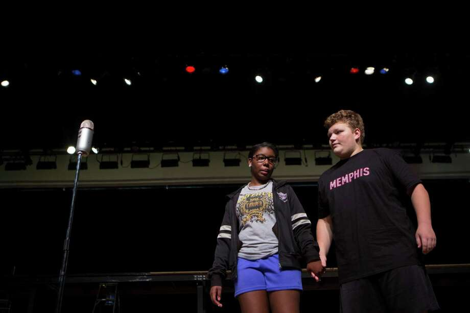 "Sariah Felix and Nathan Morgan play the lead parts in ""Memphis The Musical."" Felix, a student at Carver High and Morgan, of Memorial High, are part of a project that joined the schools to put together the play. Photo: Marie D. De Jesus, Staff / © 2014 Houston Chronicle"