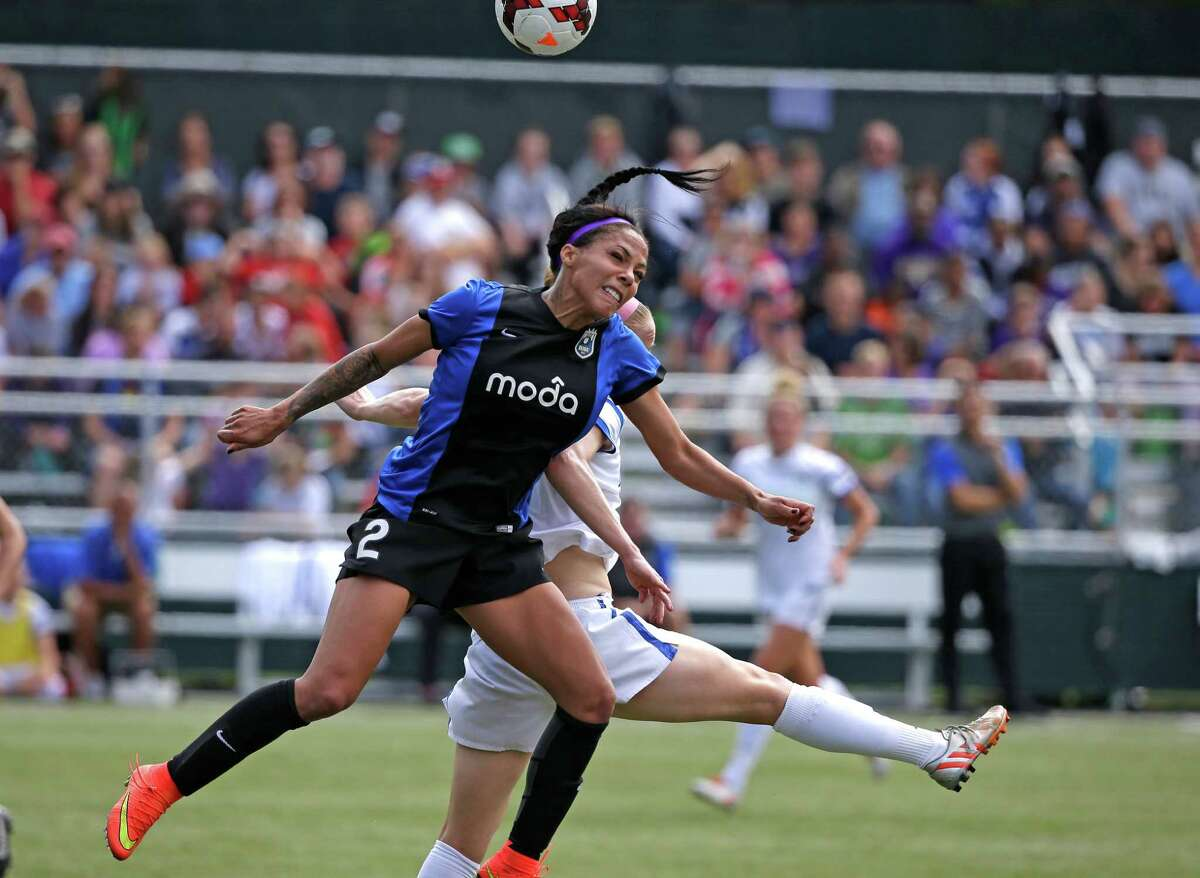 Seattle Reign FC's Sydney Leroux (2) in action against the FC Kansas City in the second half of the NWSL championship soccer match Sunday, Aug. 31, 2014, in Tukwila, Wash. Kansas City won 2-1.