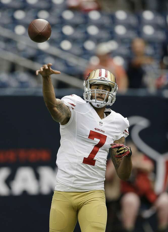 San Francisco 49ers' Colin Kaepernick throws before an NFL football preseason game against the Houston Texans, Thursday, Aug. 28, 2014, in Houston. (AP Photo/David J. Phillip) Photo: David J. Phillip, Associated Press