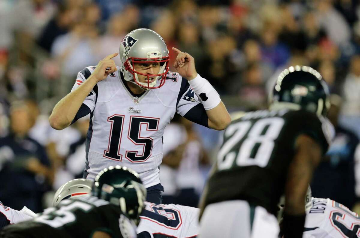 New England Patriots quarterback Ryan Mallett (15) in the second half of an NFL preseason football game Friday, Aug. 15, 2014, in Foxborough, Mass. (AP Photo/Charles Krupa)