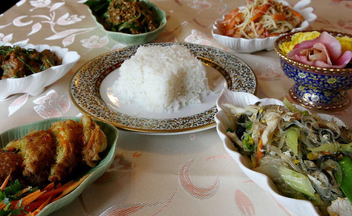 Bangkok Cuisine Thai Restaurant on Pat Booker Road in Live Oak offers (clockwise from bottom left) Golden Wings, Phad Ped, Pla Phad Prik, Som Tum and Phad Woon Sen.