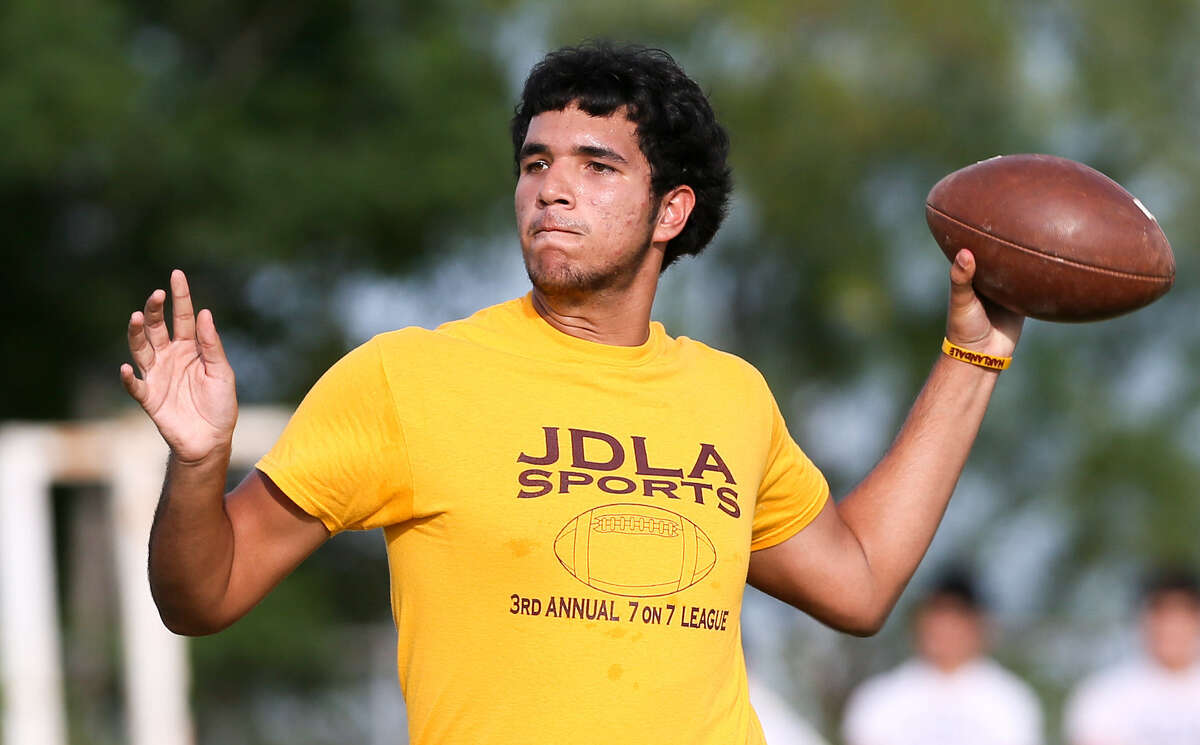 Harlandale quarterback Jacob Delgado had a good outing against Devine: 10 of 15 passes for 140 yards.