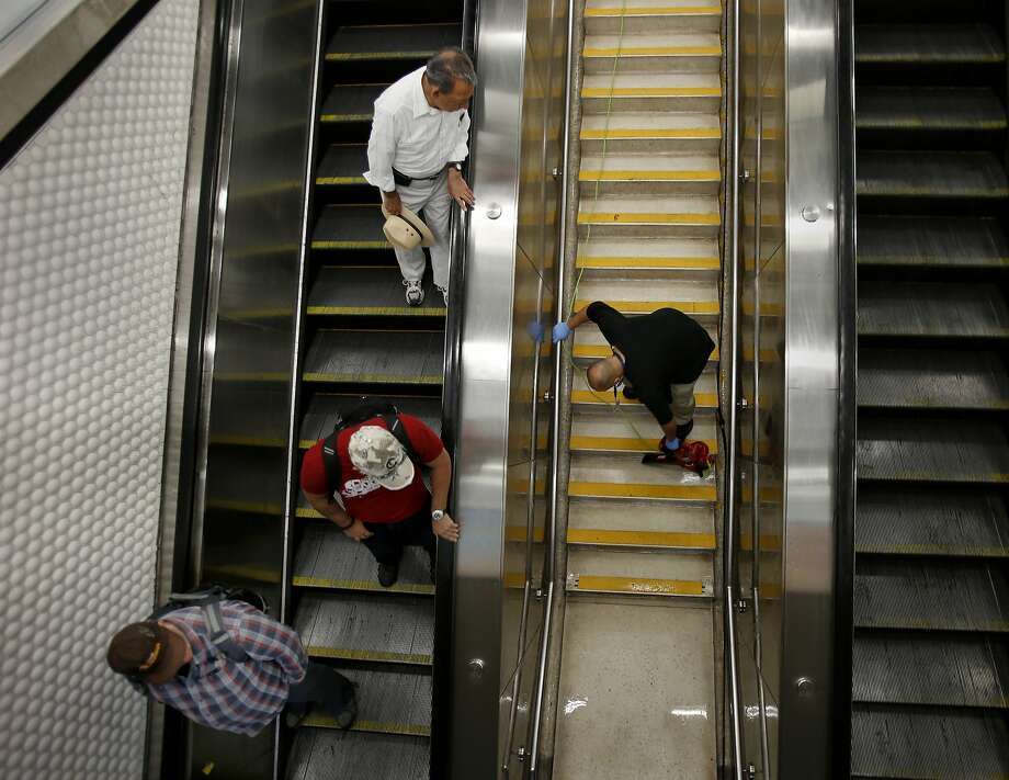 BART is taking action against trash along steps with policies to keep its busiest stations cleaner. Photo: Brant Ward, The Chronicle