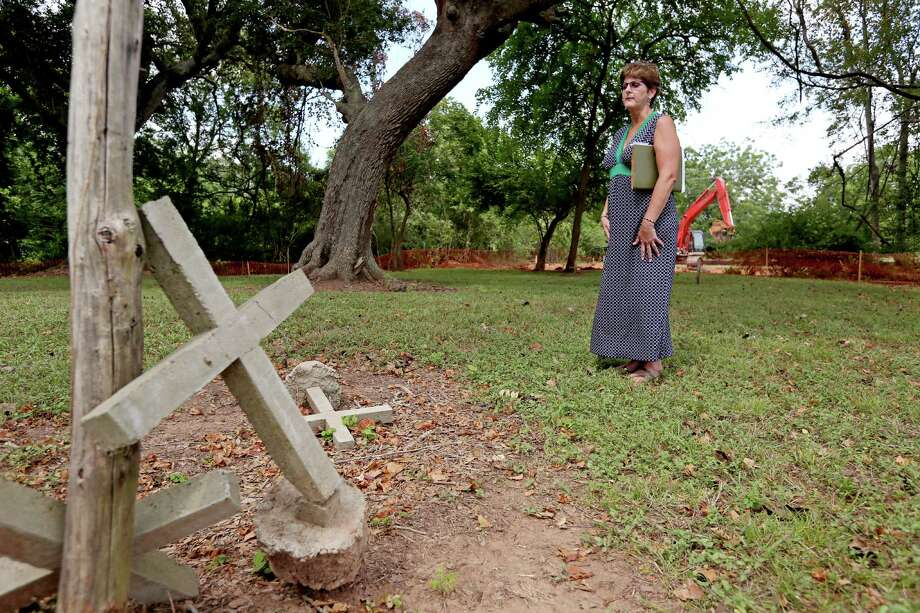 Patty Sayes, general manager of Brazos Mall, hopes to honor those buried in the historical cemetery. Photo: Gary Coronado, Staff / © 2014 Houston Chronicle