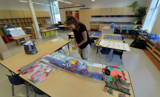 Teacher Arleen Parks sets up her kindergarten class at the newly renovated Malta Avenue Elementary School Thursday afternoon, Aug. 28, 2014, in Ballston Spa, N.Y.   (Skip Dickstein/Times Union) Photo: SKIP DICKSTEIN / 00028357A