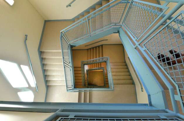 One of the staircases at newly renovated Malta Avenue Elementary School Thursday afternoon, Aug. 28, 2014, in Ballston Spa, N.Y.   (Skip Dickstein/Times Union) Photo: SKIP DICKSTEIN / 00028357A