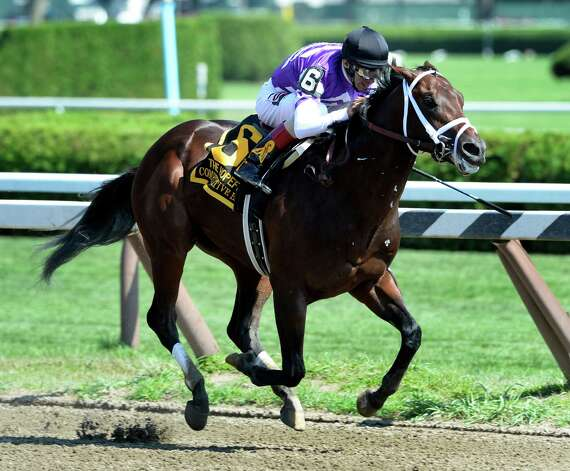 Competitive Edge with jockey John Velazquez aboard was impressive again winning for the second time this meeting in the 110th running of The Hopeful on closing day Sep. 1, 2014 at the Saratoga Race Course in Saratoga Springs, N.Y.    (Skip Dickstein/Times Union) Photo: SKIP DICKSTEIN