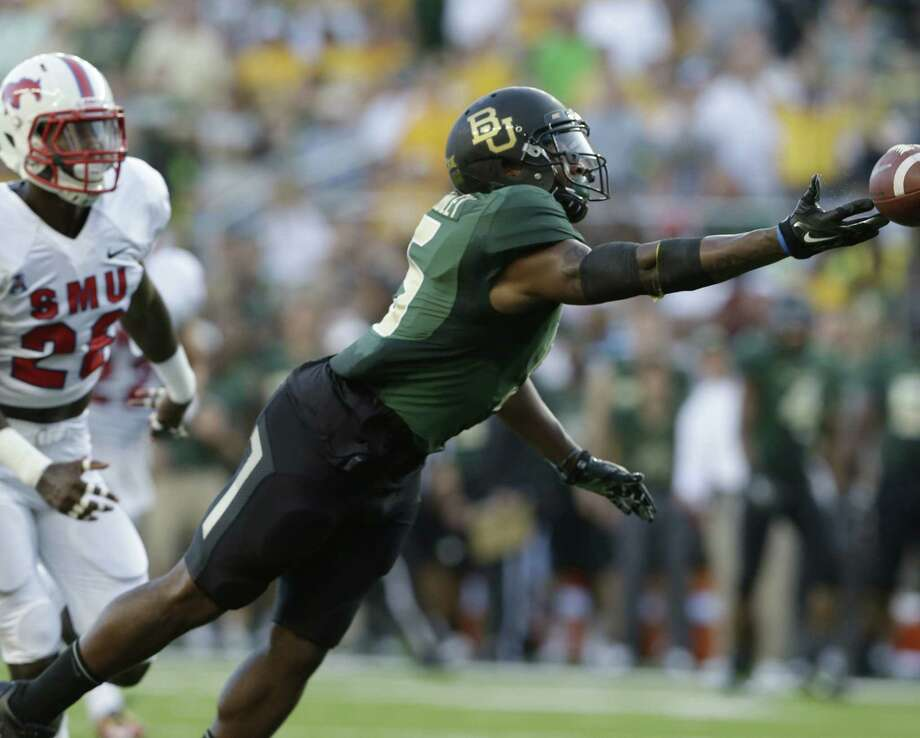 Baylor receiver Antwan Goodley sustained a quadriceps injury during the second offensive series in Sunday's 45-0 victory over SMU in Waco. Photo: L.M. Otero / Associated Press / AP