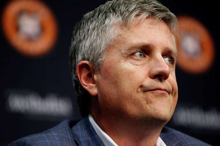 Astros general manager Jeff Luhnow addresse the media during a news conference to announce the firing of manager Bo Porter. Photo: Karen Warren, Staff / © 2014 Houston Chronicle