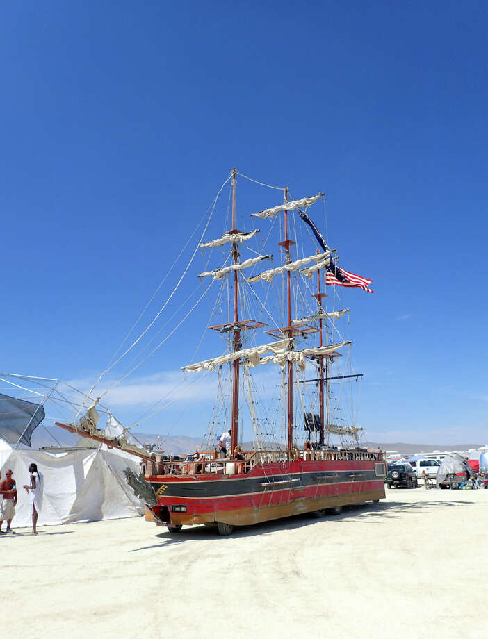 Wouldn't be the playa without a galleon. Rode on this beauty last year, for an entire day, with my Mahal camp-mates. What a day it was. (Thanks, Drea!) A fine vessel indeed, though admittedly not quite as grand as her legendary predecessor, La Contessa, the famed ship that sailed the playa since Greatest Burning Man Theme Ever, the Floating World, way back in 2002, but which was tragically torched by arson a few years back. Photo: Mark Morford