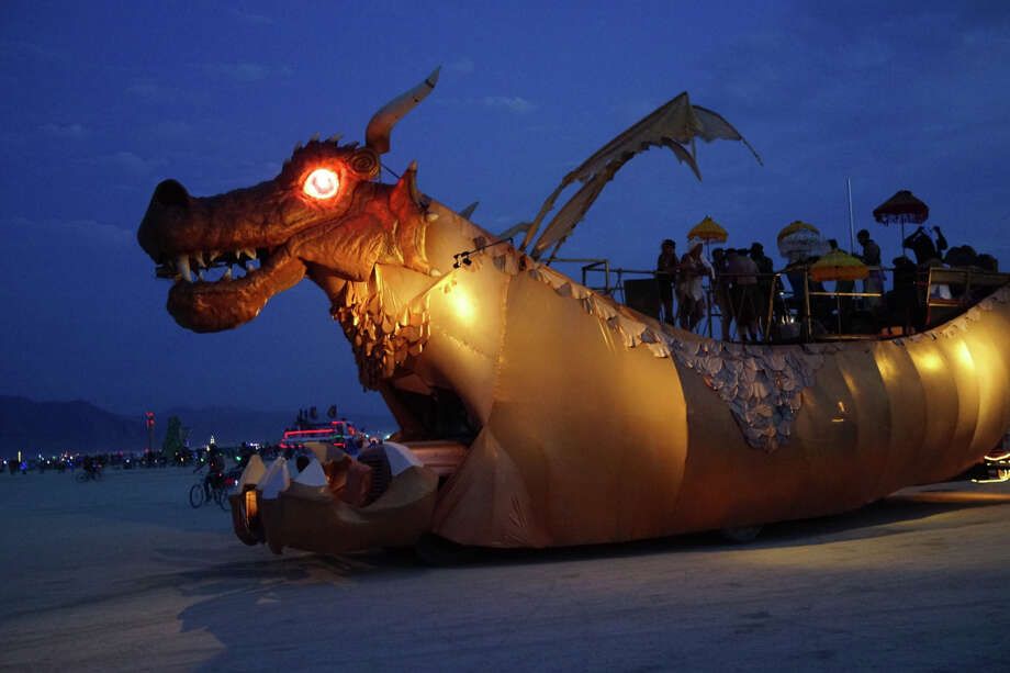 Abraxas dragon, a classic since 2006, always blasting out terrific beats (often harder to find on the playa than you might imagine, given the onslaught of obnoxious, hardcore dubstep/techno) and always a welcome sight on the playa.  Photo: Mark Morford