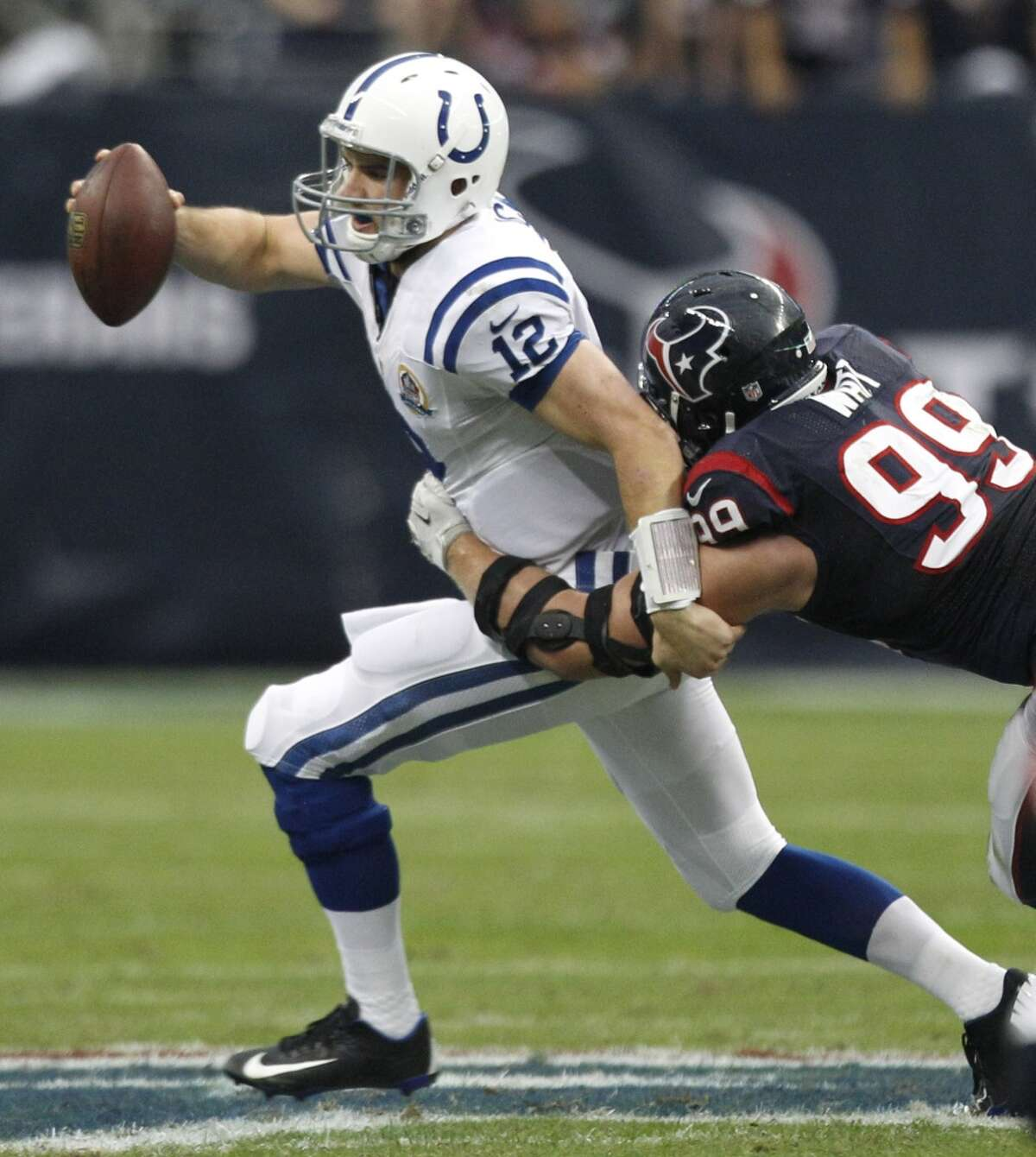 Dec. 16, 2012: 29-17 win vs. Indianapolis In a win that clinched the AFC South title, Watt recorded just the second double-digit tackle total of his career, finishing with 10 tackles and three sacks in the 29-17 win at home.