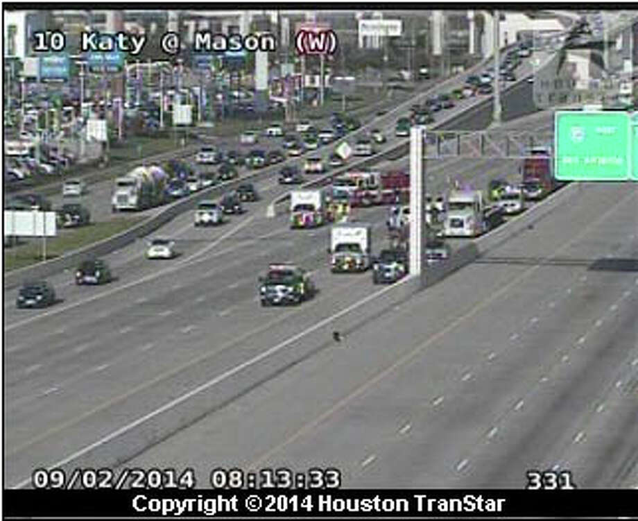 A four-vehicle wreck about 7:50 a.m. Tuesday jammed the inbound Katy Freeway near Mason, according to Houston TranStar. Photo: Houston TranStar