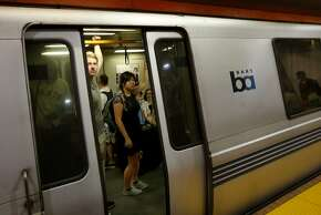 "A BART train with dirty windows departs the Powell Street station Sunday August 31, 2014. BART's traditionally dirty downtown San Francisco, Calif. stations are getting cleaned by a new ""brightening crew"" that is giving deep cleaning to station entrances, stairs, and other well used corridors."