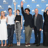 (L-R) Actress Amy Ryan,actor Edward Norton, actress Emma Stone, director Alejandro Gonzalez Inarritu, actor Michael Keaton and actress Andrea Riseborough attend the 'Birdman' photocall during the 71st Venice Film Festival on August 27, 2014 in Venice, Italy.