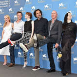 (L-R) Actors Amy Ryan, Edward Norton, Emma Stone, director Alejandro Gonzalez Inarritu, actors Michael Keaton and Andrea Riseborough attend the 'Birdman' photocall during the 71st Venice Film Festival on August 27, 2014 in Venice, Italy.