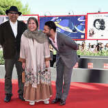 "(L-R) Actor Habib Rezaei, director Rakhshan Bani-Etemad and actor Peyman Moaadi attend the ""Tales"" (Ghesseha) premiere during the 71st Venice Film Festival on August 28, 2014 in Venice, Italy."