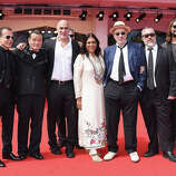 Directors Bahman Ghobadi, Hideo Nakata, Guillermo Arriaga,Mira Nair,Hector Babenco,Alex de la Iglesia,Warwick Thornton attend the 'Words With Gods' premiere during the 71st Venice Film Festival on August 30, 2014 in Venice, Italy.