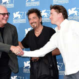 Director Barry Levinson, actor Al Pacino and director of Maglehorn David Gordon Green attend 'The Humbling' photocall during the 71st Venice Film Festival on August 30, 2014 in Venice, Italy.