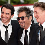 (L-R) Actors Chris Messina and Al Pacino with director David Gordon Green attends the 'Manglehorn' premiere during 71st Venice Film Festival on August 30, 2014 in Venice, Italy.