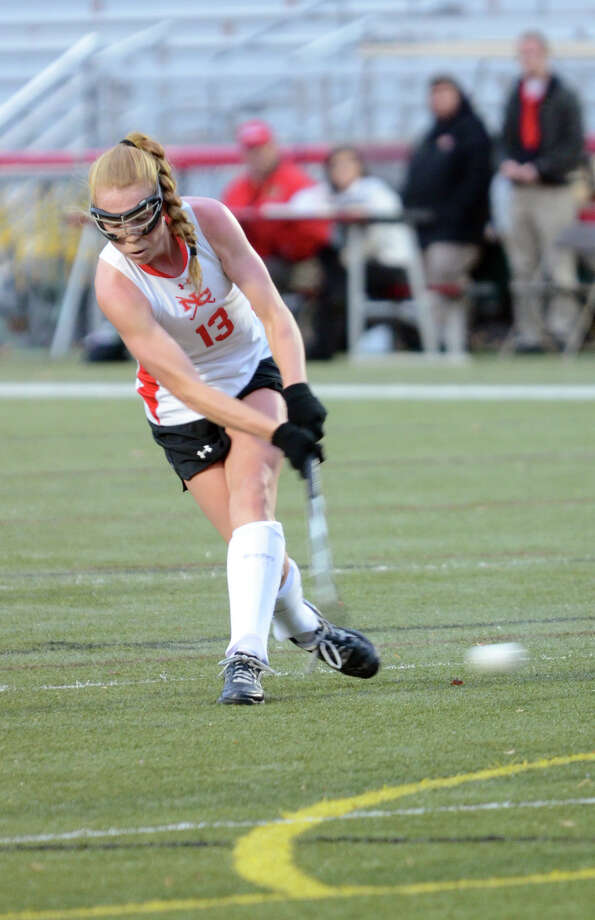 New Canaan's Elizabeth Miller controls the ball during a Class L first-round  field hockey game against South Windsor at Dunning Stadium at New Canaan High School on Wednesday, Nov. 6, 2013. Photo: Amy Mortensen / Connecticut Post Freelance