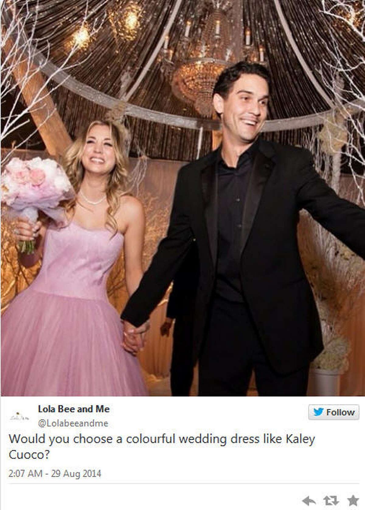Kaley Cuoco (and her blush wedding gown) married Ryan Sweening on December 31, 2013.