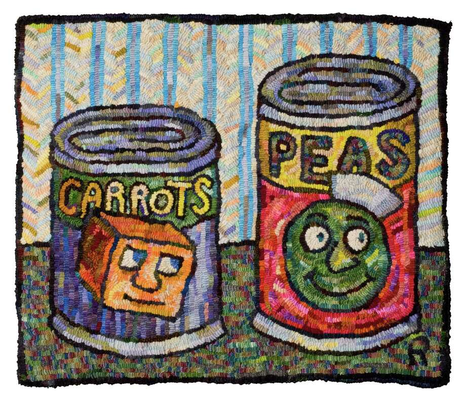 """Carrots and Peas"" is one of several tapestries by ""New Yorker"" cartoonist Roz Chast on display at the Bruce Museum in Greenwich, Conn., as part of her solo show. It runs through Oct. 19, 2014. An artist's talk is scheduled for Sept. 17, 2014. Photo: Contributed Photo / Stamford Advocate Contributed photo"