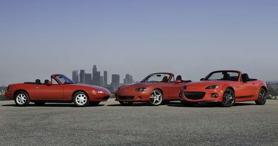 First second and third generation Mazda MX-5 Miatas. Photo: Mike Ditz, MikeDitzPhoto