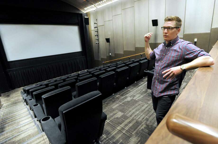 "Mike Santini of Ridgefield, Conn., the director of developement for the The Prospector Theatre, speaks in one of the four theatres in the movie house. The Prospector Theatre is a new ""first run"" movie theatre opening soon in Ridgefield, Conn. Photo taken Tuesday, Sept. 2, 2014. Photo: Carol Kaliff / The News-Times"