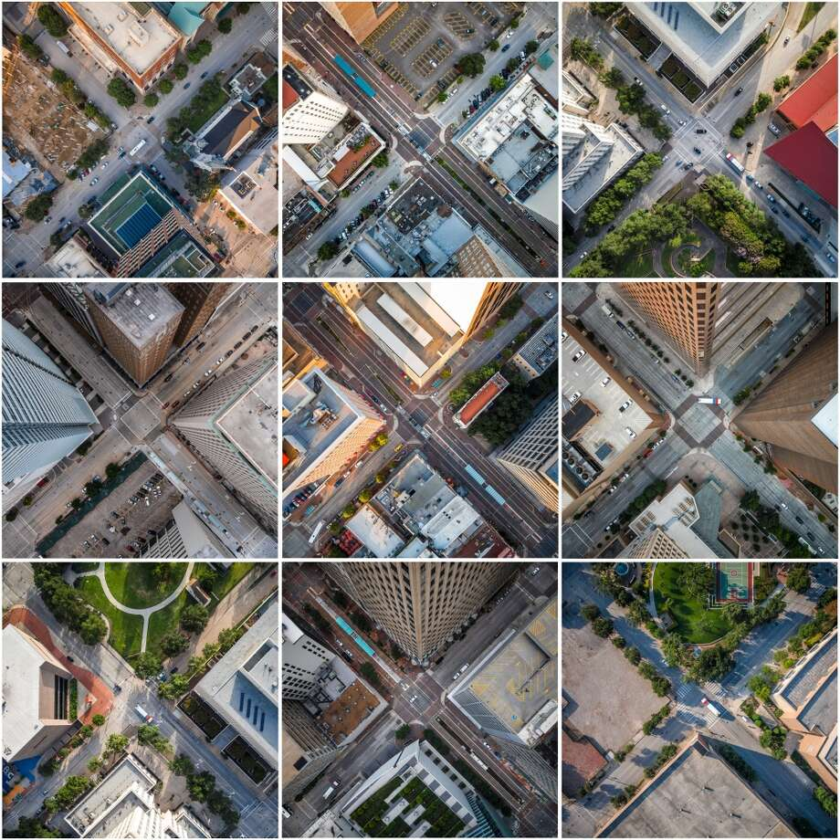 Can you guess the Downtown Houston intersection? Check out these pics from aerial artist and drone photographer Pete Molick and see if you can guess which downtown intersection is pictured. Photo: Pete Molick