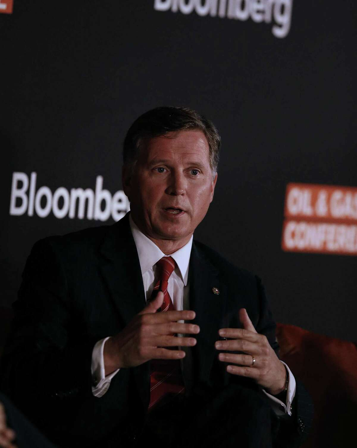 Barry Smitherman, chairman of the Texas Railroad Commission, speaks during the Bloomberg Link Oil & Gas Conference last year in Houston. A reader takes exception to the views Smitherman expressed regarding climate change in a recent Express-News series on the gas flaring in the Eagle Ford area.