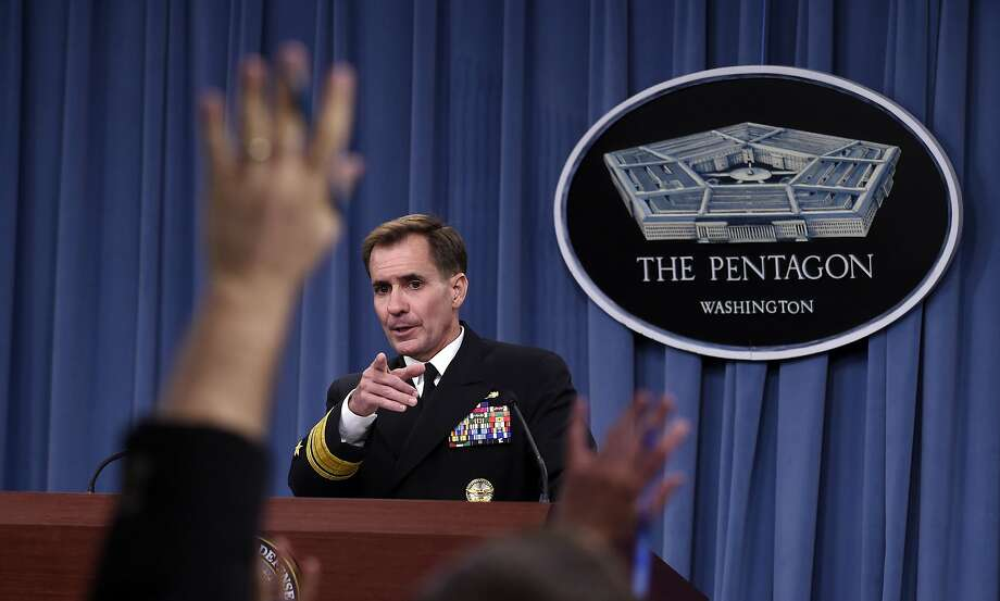 At a news conference, Pentagon press secretary Navy Rear Adm. John Kirby said he can't confirm if al-Shabab leader Ahmed Abdi Godane was killed. Photo: Susan Walsh, Associated Press