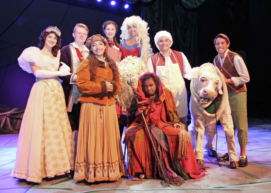 """The cast of Dawson High School's production of """"Into the Woods"""" includes Renee Shohet, left, Nathan Unroe, Anna Maria Ward, Anh-Mai Kearney,  Keana Madrinan, Alyah Scott, Zach Howard, Justin Staten (in costume as Milky White) and Angelo Silva. Photo: Courtney Morris"""