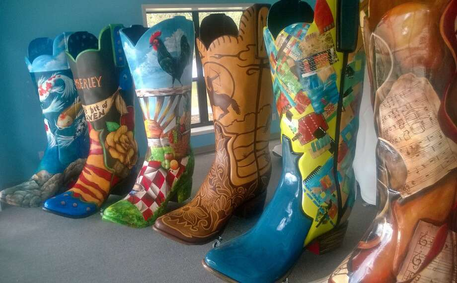 "Some of the boots that will be on display at the ""Baring Our Boots"" celebration on September 13. Photo: Courtesy Of Wimberley Valley Arts And Cultural Alliance"